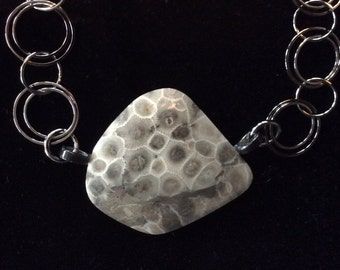 Petoskey Stone Necklace Gunmetal