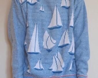 Vintage Izod Sailboat Sweater Medium Made in USA