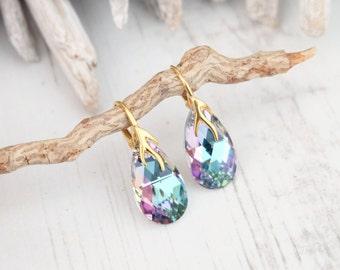 24k Gold Plated Swarovski Earrings-Vitrail Light Teardrop Earrings-Swarovski Crystal Jewelry-Purple Wedding Bridesmaids Dangle Drop Earrings