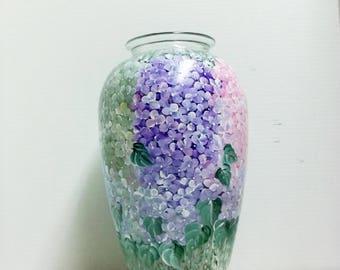 Hand Painted, Glass Vase, Hydrangea Garden, Flower Painting, Pink Flowers, Blue Flowers, Purple Flowers, Table Decor, Home Decor,