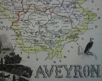1850 antique map of Aveyron departement France - beautiful old hand colored print - Rodez Espalion Millau Villefranche-de-Rouergue - 9x11""