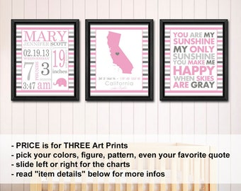new baby girl decor with stats, Baby Girl Nursery Prints personalized, birth stats art, Baby Girl Birth Announcement, Baby Stats Sign