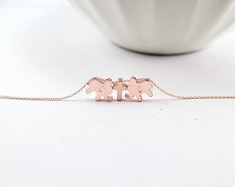 Two Elephants Necklace,Cross Necklace, Personalized elephant bracelet, Rose gold.cross Animal Jewelry.Two initial elephant jewelry.Animal