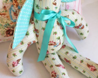Peter Rabbit Bunny,Kids Stuffed Plush Animal, Beatrix Potter Fabric, Handmade, Little Boy Girl Birthday, Plush Toy, Nursery, Easter