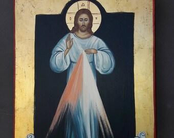 Divine Mercy of Jesus .IC XC. religious icons.original icon.Jesus Christ..Catholic icon.greek icon.CATHOLIC icons.