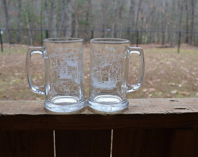 Vintage Glass Beer Mug Set of 2 Christopher Columbus Journey Pinta Sailing Ship Barware Glassware PanchosPorch