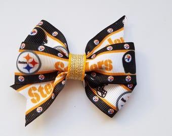 Steelers Hair Bow/Hair Clip/Girl's hair bow/Baby Girl hair bow/Pittsburgh Steelers/football fan/NFL