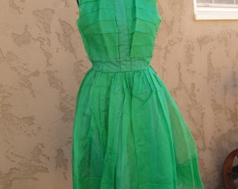 Vintage 1950's Kelly Green Silk Organza Party Dress As Is//Junior or Girl's