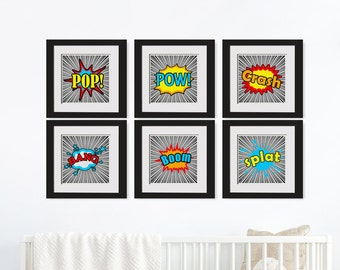 Set Of 6 Superhero Printables|Art Above Crib|Superhero Wall Print Set|Geeky Wall Art|Superhero Party|Superhero Nursery|Superhero Dad Gift