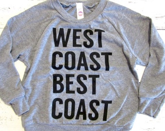 West coast best coast toddler long sleeve. American apparel.