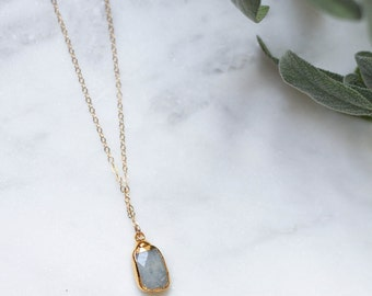 Aquamarine + Gold Necklace