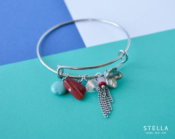 Turquoise red beaded wire bangle bracelet, pewter flower charm, Swarovski crystal, fringe chain, stacked jewel, expandable silver bracelet