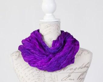 purple statement scarf / violet boho fashion scarf / bright purple ruffled silk scarf