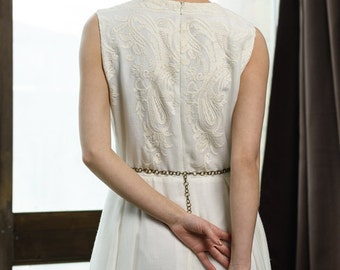 ALTHAEA / wedding dress incredibly beautiful and unusual 100% silk fabric with embroidery Greek wedding gown ivory , victoria spirina