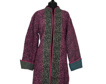 KANTHA JACKET - XXX Large - Long style - Size 20/22 - Deep pink on purple. Reverse grey and blue.