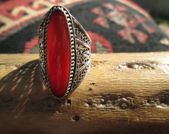 Ornate Carnelian and Sterling Silver Inlay Ring Size 9.5