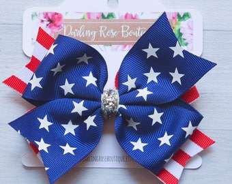 """SALE Ready to ship! Large 4"""" Fourth of July Independence Day red white and blue flag hair bow hairbow pigtails"""