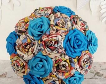 Comic wedding ideas paper marvel DC superhero bridal wedding flower bouquet alternative blue origami