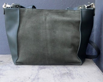 Suede and calf leather handbag in khaki
