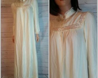Christian Dior Nightgown Peignoir Size Small Vintage 1980s//Designer Robe//Valentines Day Bride Bridal Honeymoon Wedding Lingerie