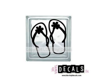Flower Flip Flops - Beach and Summer Vinyl Lettering for Glass Blocks - Craft Decals