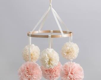 Crib Arm Mobile, Nursery Mobile, Baby Mobile, Crib Mobile, Hanging Pom Poms, Nursery Decor, Pom Pom Mobile, Baby Crib Mobile, Custom Mobile