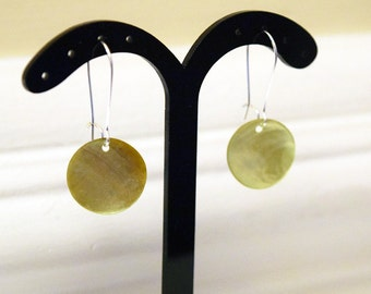 Pretty Natural Shell Disc Silver Plated Earrings