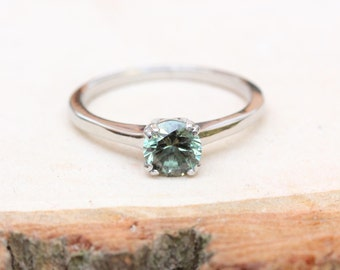 1ct Green Sapphire solitaire ring in Titanium or White Gold - engagement ring - wedding ring - handmade ring
