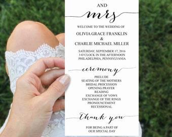 Wedding Program Template - 4x8 Wedding Program - Editable Wedding Program - DIY 4x8 Ceremony Program - Minimal Elegance - Instant Download