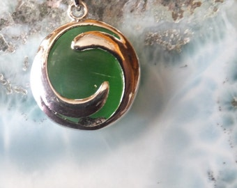 Jade and Sterling Silver Pendant with Sterling Chain