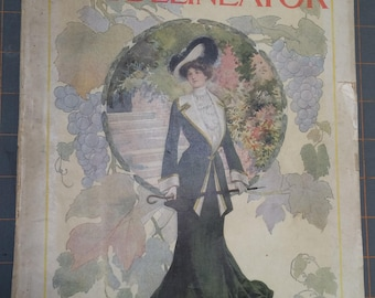 Delineator Magazine October 1902 - Full Color Fashion Illustrations - Vintage Antique Advertising - Women's Magazine -Fashion History -79-19