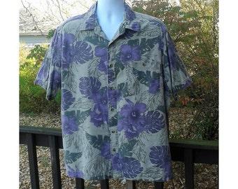 Vintage Hawaiian Shirt, Men's Hawaiian Shirt, Mens Beach Shirt, Tropical Shirt, Purple Vacation Shirt, Men's Island Shirt, Mens Size Large