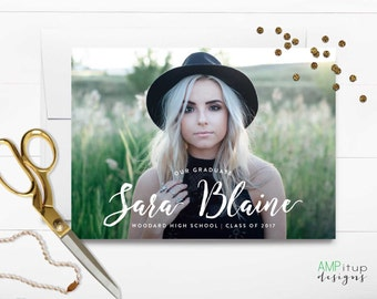 Name Graduation Announcement - Printable Graduation Announcement - Girl Grad Announcement - Graduation Party Invitation - High School Grad