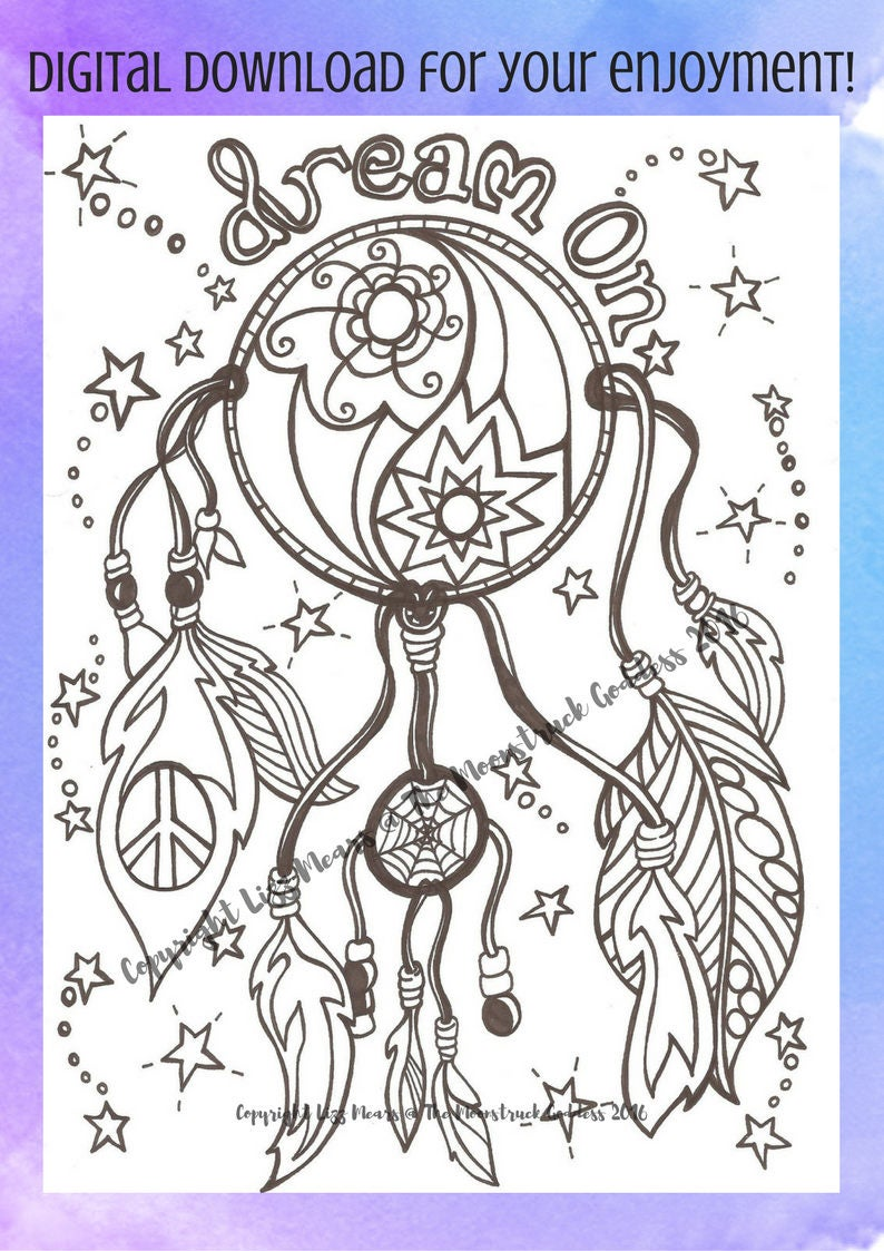 dream catcher colouring page native american indian