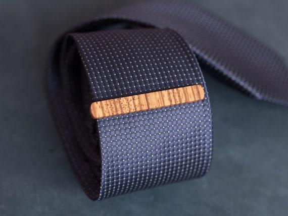 Zebra Wood Tie Clip. Slim 7.5 mm ties clip. Groomsmen Tie Clips. Monogrammed Tie Bar. Exotic Wood Tie Clip. Engraved Custom Tie Clip.