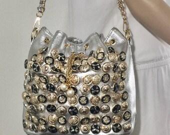 1980's, Silver Purse, Bucket Bag, Cinch Bag, Shoulder Bag