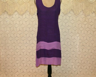 Summer Dress Sleeveless Purple Dress Silk Cotton Midi Dress Large XL Scoop Neck Womens Dresses Plus Size Womens Clothing
