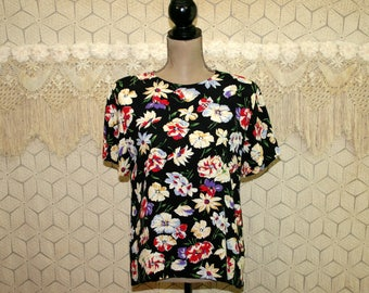 90s Black Floral Blouse Short Sleeve Top Boxy Rayon Shirt Large Back Buttons Size 12 Blouse Liz Claiborne Vintage Clothing Womens Clothing