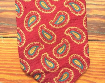 Vintage 70s B. Altman & Co. Red Gold Paisley Wool Tie