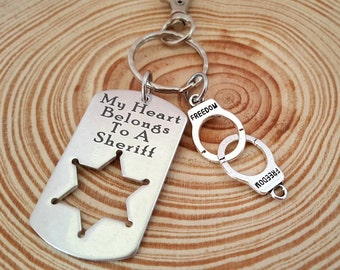 Engraved Key Chain | My Heart Belongs to a Sheriff  Dog Tag Key Chain | Police Force | Engraved Name on Back