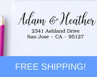 Address Stamp, Self Inking Return Address Stamp, Wedding Stamp, Custom Address Stamp, Housewarming Gift  (D207)