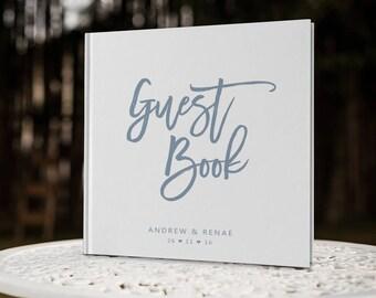 Dusty Blue Wedding Guest Book, Blue Wedding Guestbook, Custom Guest Book, Rustic Wedding Guest Book, GB 124