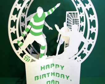 Football, Birthday Card, Soccer, Christmas Cards, Soccer Gifts, Pop Up Card, Greeting Card, Papercut, Valentines Day Card, Fathers Day Card