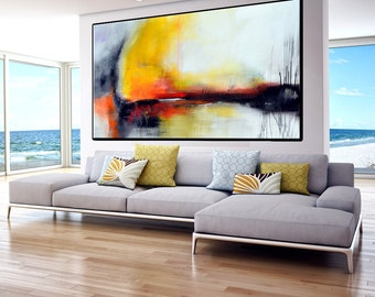 Large Abstract yellow and grey painting,  Handmade Abstract Painting Minimalist Art,  Original Painting on Canvas grey yellow orange