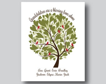 Grandparents Gift, Grandchildren Tree, Grandchildren Wall Art, Personalized Family Tree Art, Grandma Gift, Grandpa Gift, You Personalize