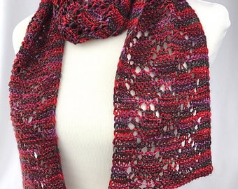 Red scarf // eyelet scarf // red purple scarf // diamond scarf  // handknit scarf // handmade scarf // lace scarf // Red lace scarf