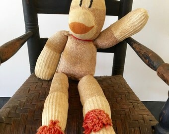 Vintage 1920s-30s handmade SOCK MONKEY ~ stuffed monkey~antique~Americana toys photo props  from MilkweedVintageHome