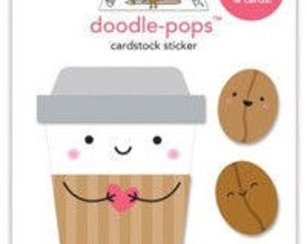 Doodle pops 3 dimensional cardstock stickers coffee mates and Tea for  two doodle pops