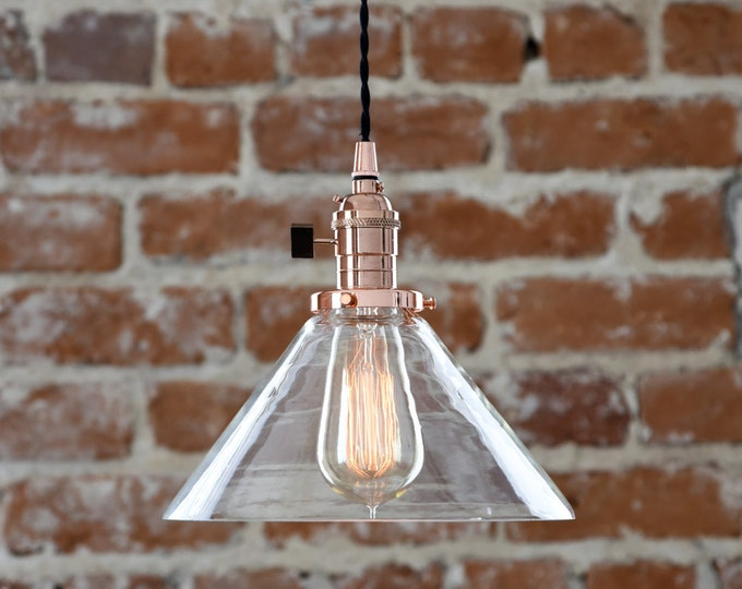 """Free Shipping! Copper Pendant Light Wavy Glass 9"""" Cone Industrial Shade Round Plug In or Canopy Kit Cloth Covered Wire"""