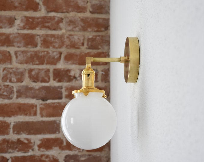 "Free Shipping! Gold Brass 1 Light Wall Sconce White Opal 6"" Globe Vanity Century Industrial Modern Art UL Listed"